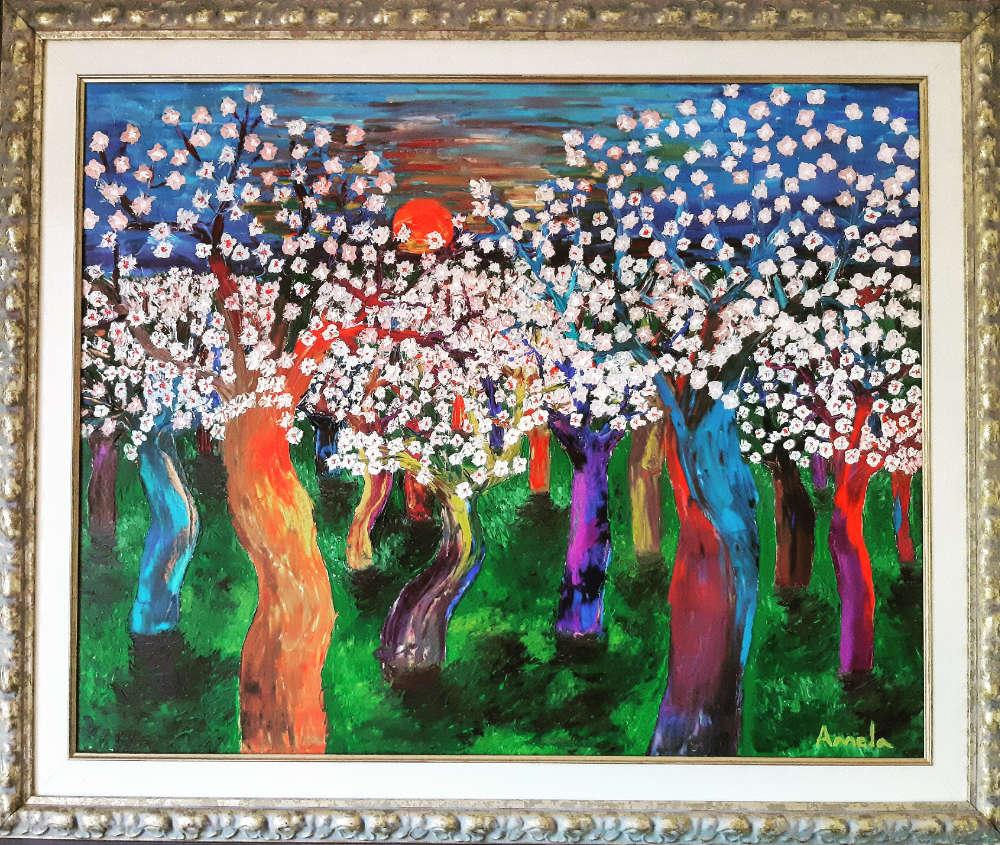 Atardercer con almendros en flor - 100x80 cm - 2006