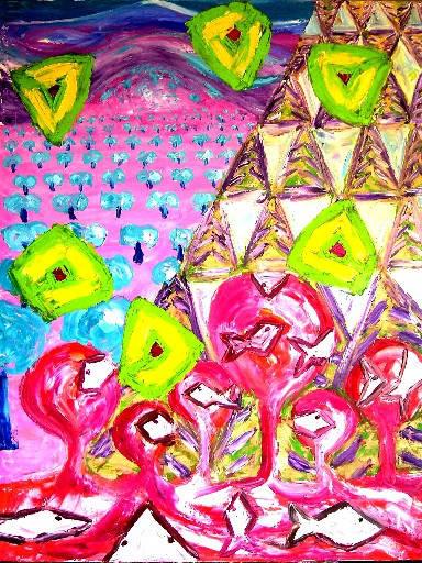 Flores y olas - 89x116 cm - 2007